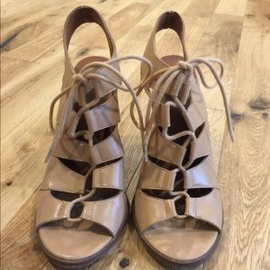 Saks Fifth Avenue nude leather lace up sandals